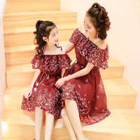 2018 Off Shoulder Dress Mom Daughter Clothing Happy Family Matching Outfits Mother Daughter Clothing Summer A Line Long Dress