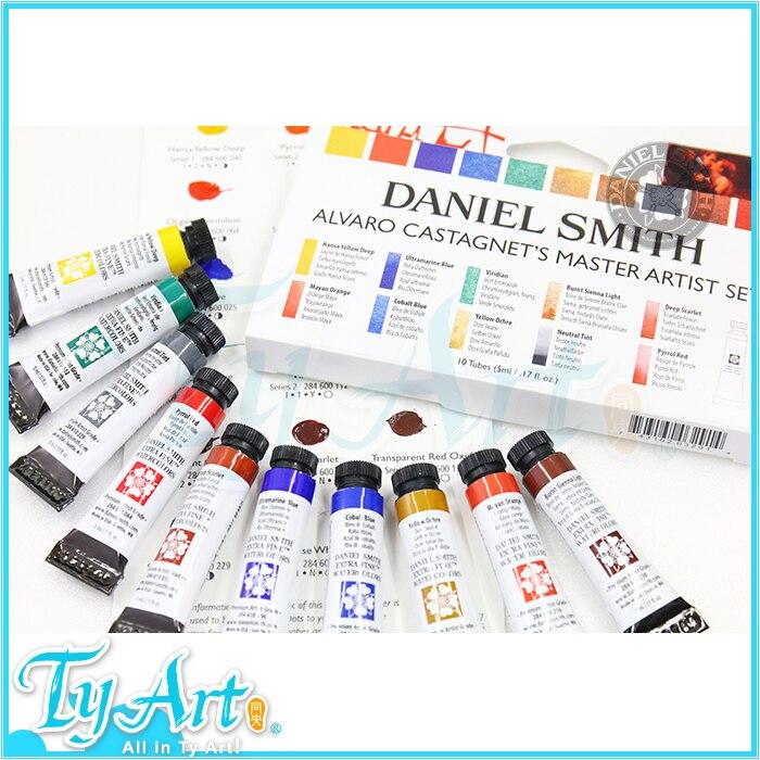 Купить с кэшбэком Freeshipping Daniel Smith Alvaro Master level watercolor pigment Senior set 10color 5ml+ test card