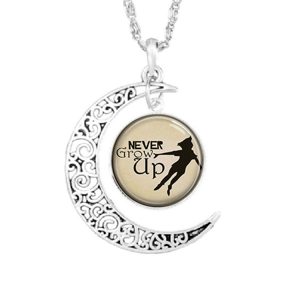 Steampunk US Movie Never Grow Up Peter Pan Quote Moon Pendant Antique Necklace glass 1pcs/lot mens handmade jewelry dr who chain