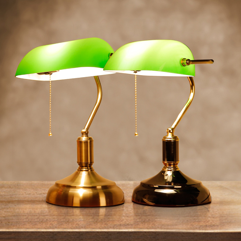 Retro Chinese Style Old Shanghai Table Lamp Emerald Green Bank Office Desk Lamps Vintage Student Reading Lamp E27 Book Light