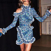 New summer woman's dress blue color print lace sexy long sleeve patchwork mini dresses ladies summer party clothing