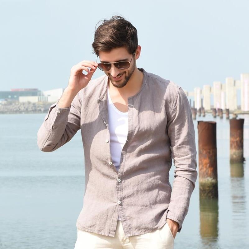 Hot 2018 Summer Baseball Linen Shirt Male Casual Stand Collar Slim Fit Linen Long-sleeve Men Fashion Top Breathable Fluid Shirt
