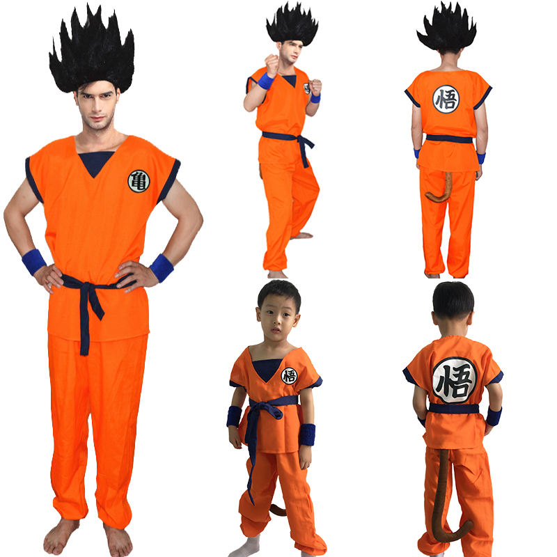Adult Children boy Anime Dragon Ball costume Monkey halloween Cosplay Son Goku clothes Kids Japanese Costume For Men 6 sizes