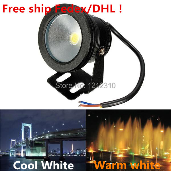 10W 12V IP68 Waterproof LED Underwater Light Warm/Cool White Black Shell Body For Fountain Pool Pond Swimming Pool Decoration