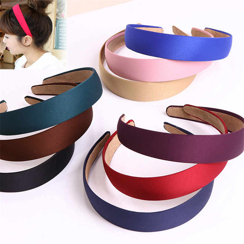 Hot Fashion High Quality PP Wide Solid Headbands Vintage Women Girls Elastic Hair Bands Hair Accessory Free Shipping