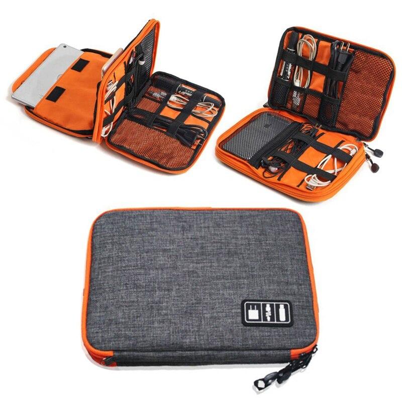 Alto Grau de Nylon 2 Camadas Acessórios Eletrônicos Saco Organizador da Viagem, Gadget De Viagem Carry Bag, tamanho perfeito Ajuste para o iPad