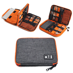 Bolsa organizadora de accesorios electrónicos de viaje de 2 capas de nailon de alta calidad, bolsa de transporte de gadgets de viaje, tamaño perfecto para Ipad