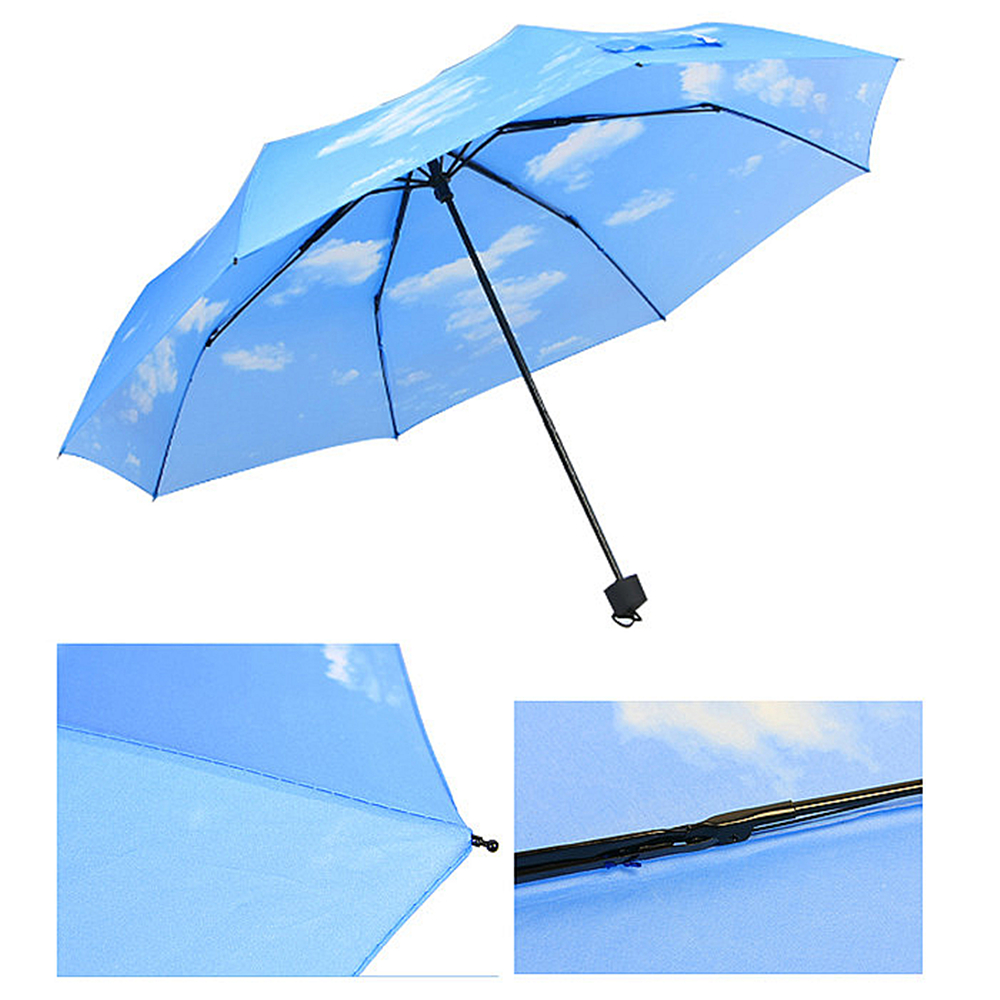 new anti uv sun protection umbrella sky blue sky three folding parasols rain sunny umbrellas. Black Bedroom Furniture Sets. Home Design Ideas