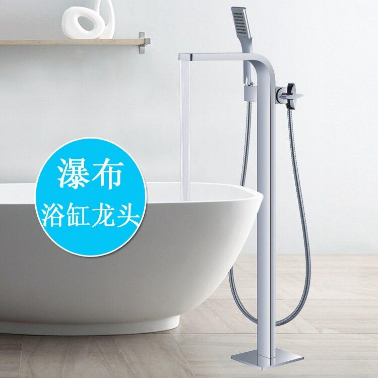 Free shipping Bathroom Chrome Finish Free standing Bath Tub Filler Faucets Floor Mounted Single Handle Mixer Taps FS125 niko 50pcs chrome single coil pickup screws