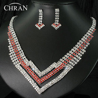 Unique Design Crystal Rhodium Plated Women Jewelry Wholesale Party Gift Fashion Rhinestone African Bridal Wedding Jewelry Sets