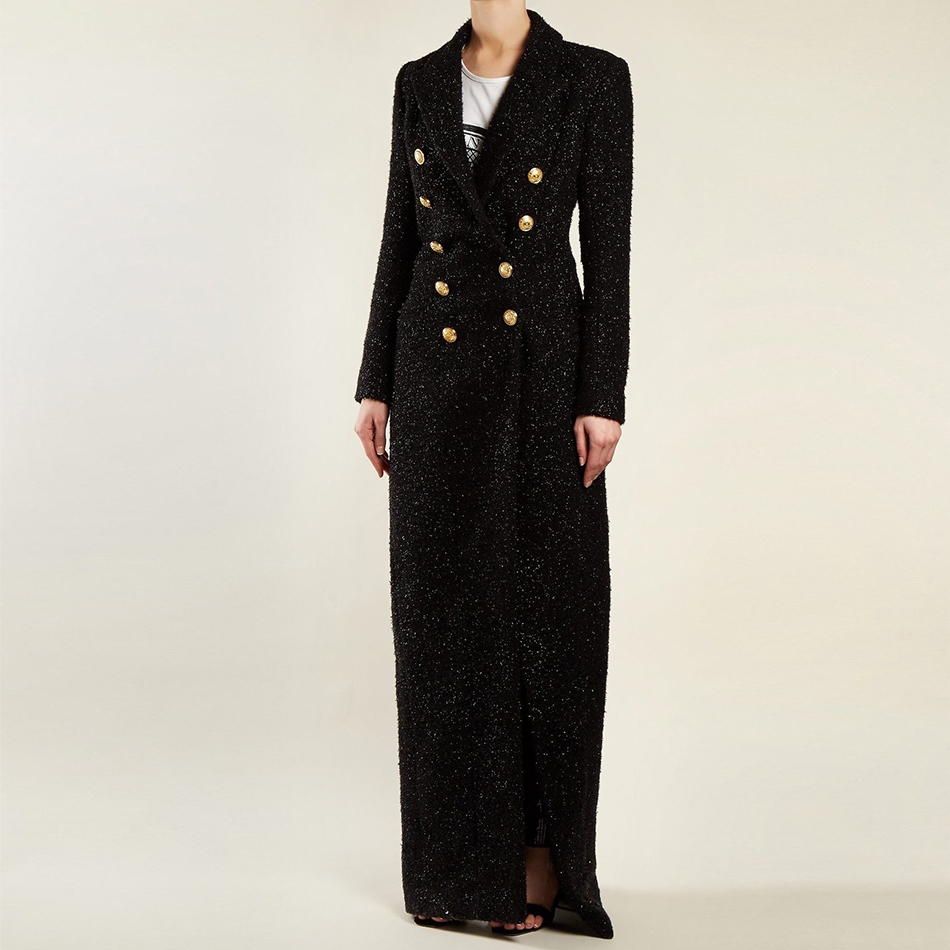 Seamyla 2020 New Fashion Women Sequined Coat Long Sleeve Black Runway Trench Sexy Winter Gold Buttons Celebrity Party Coats