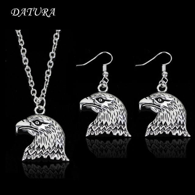 Fashion silver Plated Eagle Pendant Necklace Earring Jewelry Set for Women  or men.(Color Silver) 8e782da0d