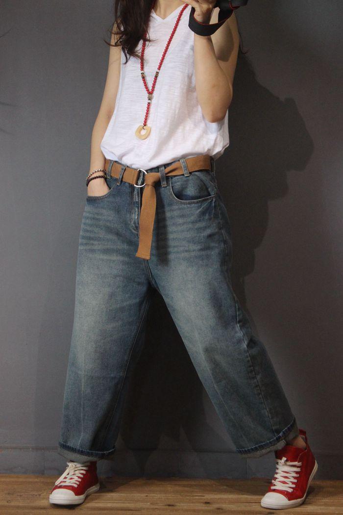 Casuales Azul Mezclilla De Cinturón Del Las Pantalones Primavera Y Mujeres Con Denim Todo Suelto Otoño fósforo wFXyq1H