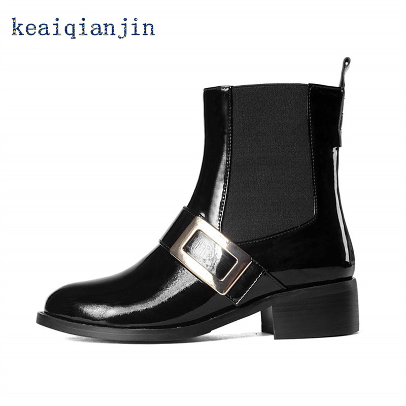 ФОТО Genuine Leather Chelsea Boots 2017 Latest Spring Autumn Fashion Patent Leather Full Grain Leather Woman Shoes Black Martin Boots