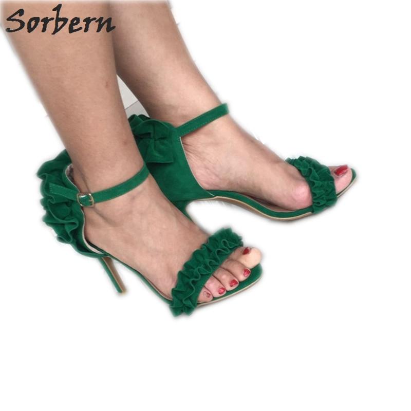 Sorbern Green Ankle Straps Sandals For Women Shoes 42 Stilettos High Heels Summer Shoes Sandals For Girl Kids 2018 Ladies Sandal gold glitter wedding sandals for women sandals low heels ankle strap stilettos shoes women 2016 summer ladies shoes sandal