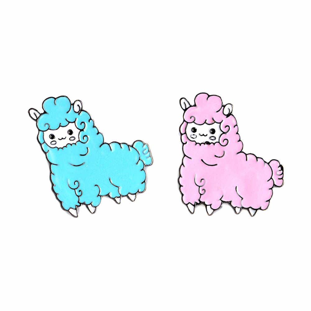漫画動物素敵なリトル羊アルパカブローチボタンピンピンクブルーブローチデニムピンバッジギフト漫画のジュエリー