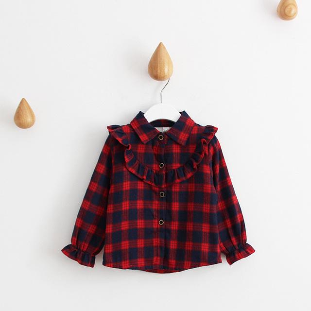 2016 Nueva moda cómodo niños del bebé ropa niñas niños niños camisa superior blusas 100% algodón a cuadros rojo clásico