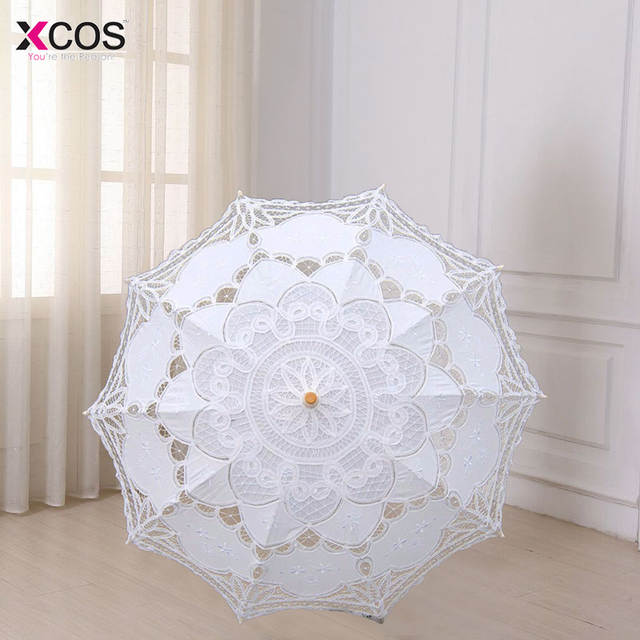 8f4041f57fdc Multicolor 30'' Vintage Style Handmade Embroidered Cotton Lace Parasol Sun Umbrella  Wedding Bridal Party Decoration-in Bridal Umbrellas from Weddings ...