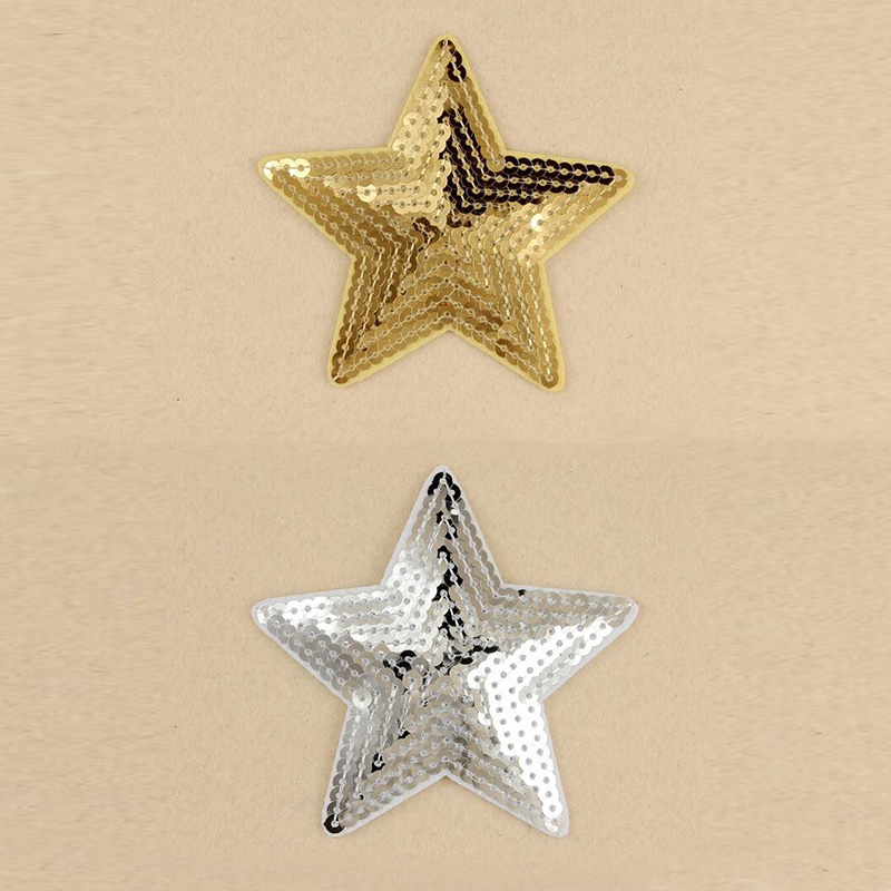 10pcs9x8.4cm mix five pointed star appliques gold silver ...