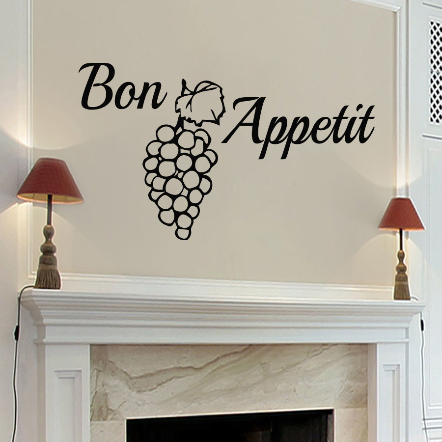 Dctop Bon Appetit Grape Wall Sticker Removable Vinyl Creative Decals Home Decor Waterproof Dining Room Kitchen