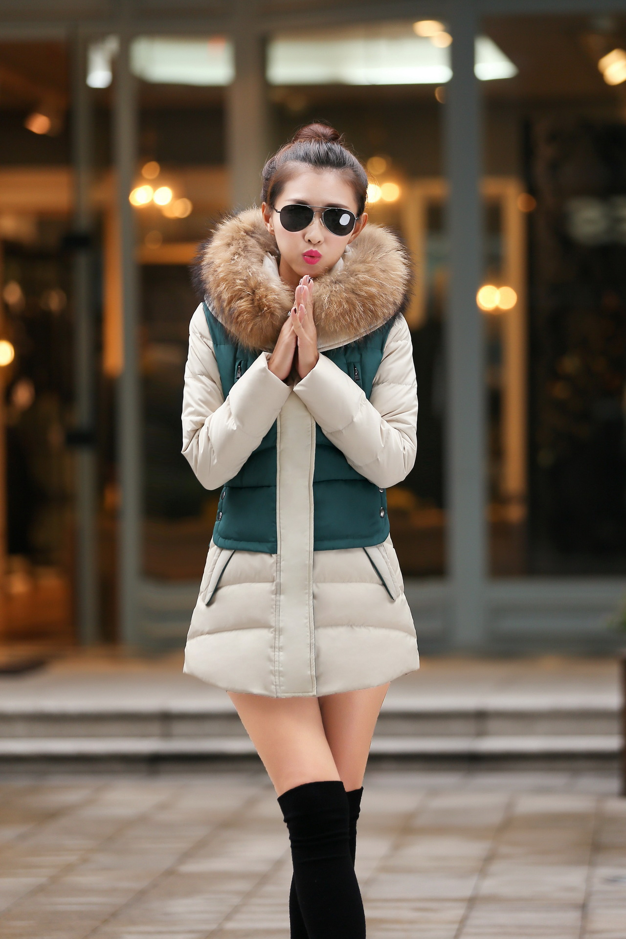 Fashion Women Parkas Slim Long Patchwork Zipper Jacket Thick Warm Faux Fur Collar Hoodie Outwear Coat Full Cotton Women Parkas