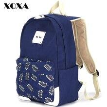 Xqxa fashion girl schultaschen für jugendliche nette blatt druck leinwand frauen rucksack mochila escolar casual schultasche rucksack