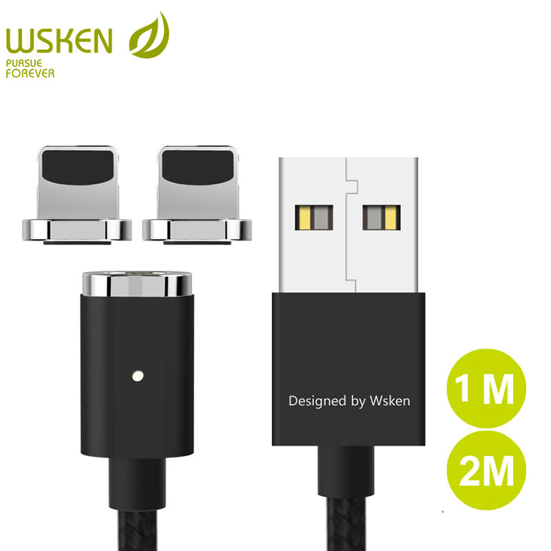 WSKEN Magnetic Cable for iPhone Mini 2 USB Magnetic Charger Mobile Phone Cables for iPhone X <font><b>8</b></font> 7 6 5 for iPad With LED Light