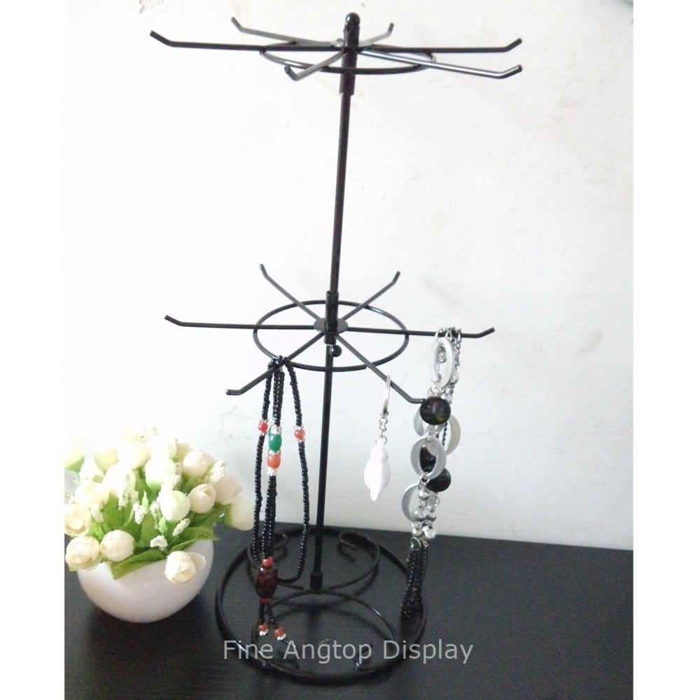 EE/_ ROTATING IRON 2-TIER REVOLVING STAND RACK JEWELRY KEYRING TOY DISPLAY HANGER