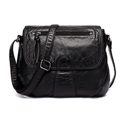 Brand High Quality Black Small Women Messenger Bags Very Soft Washed PU Leather Bag Fashion Female Purses and Handbag
