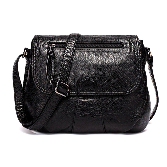 Brand High Quality Black Small Women Messenger Bags Very Soft Washed Pu Leather Bag Fashion Female