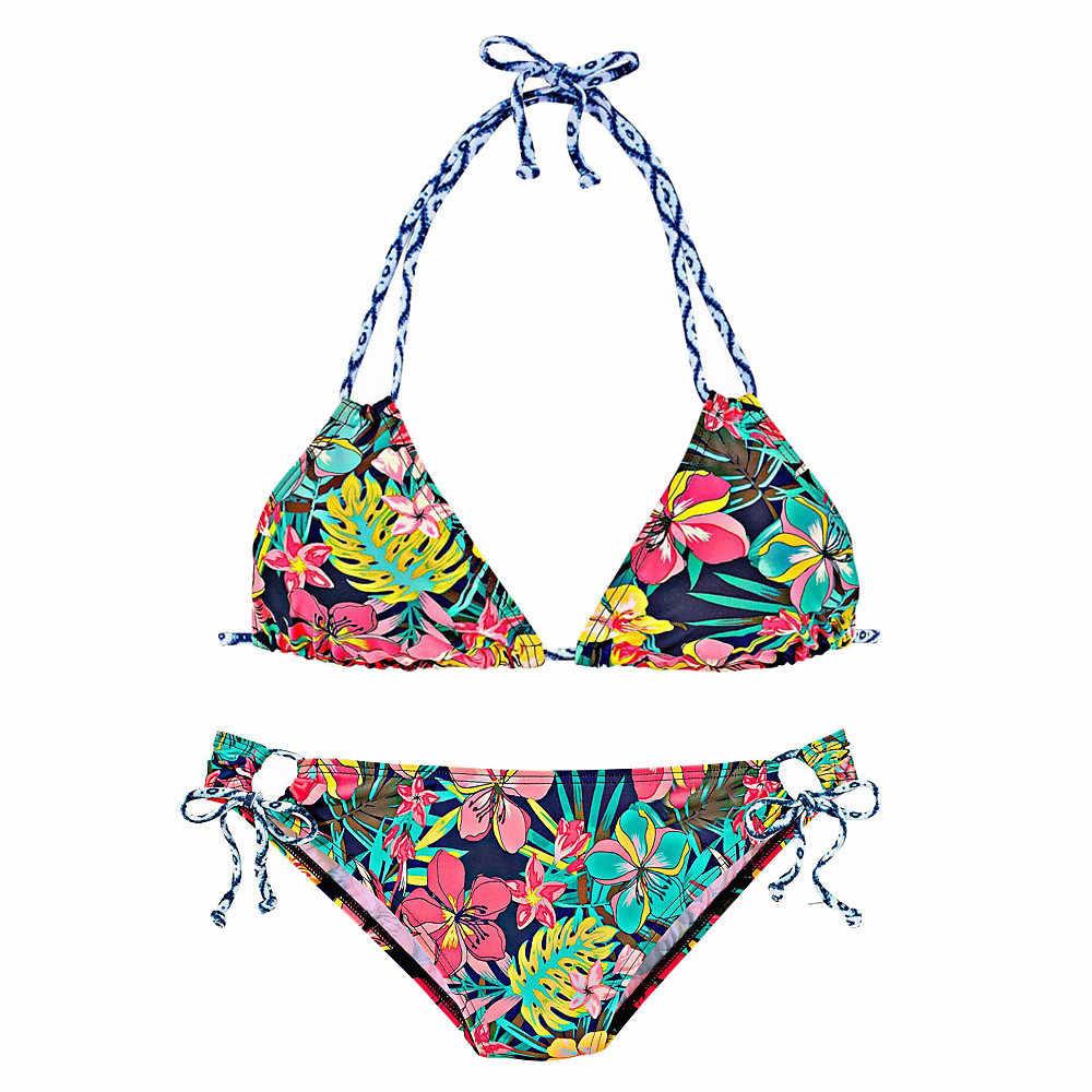 20 # 女性ブラジルビキニセットセクシーなプリント水着ホルターベストトップスチューブトップひも水着ビーチ 2020 水着 mujer biquini