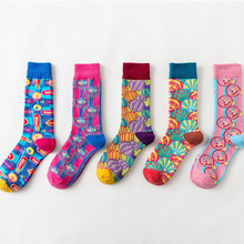 5 Pair/set Women Cotton Socks Printed Funny Harajuku Cute Novelty Long Womens Sock Breathable Comfort Soft Girl