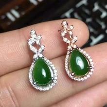 natural green jasper drop earrings 925 silver Natural gemstone drop earring women elegant Classic drop Earrings for anniversary