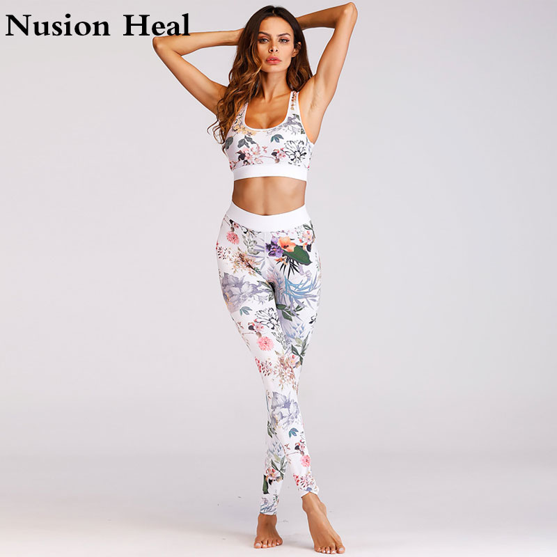 Printed Yoga Pant + Sport Yoga Bra Top Women High Waist Yoga Legging Sports Tight Fitnes ...