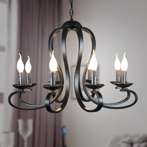 Image 3 - Modern candle Chandelier lighting Nordic American coutry style Fixtures Vintage white/black wrought Iron Home Lighting E14