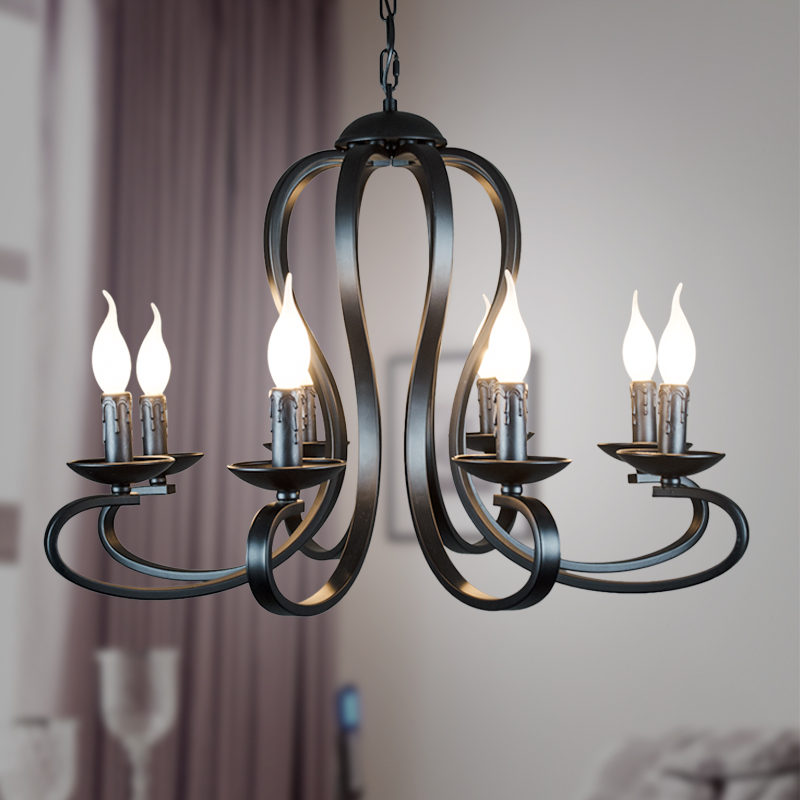 wrought Iron Chandelier lighting Nordic American coutry Modern candle style Fixtures Vintage white/black Home Lighting E14