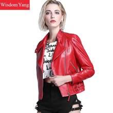 3xl negro rojo Real oveja chaquetas de cuero genuino capa corta para mujer  2018 damas abrigo de cremallera chaqueta de bombarder. e4a277027a5e
