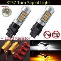 2X Canbus 3157 Super Bright 980Lums White/Amber Switchback 2835 42-SMD LED Bulbs For Turn Signal Light With Load Resistors
