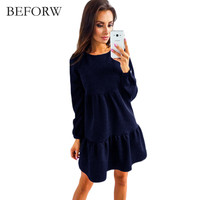 BFEORW 2017 Fashion Ladies Casual Women Loose Dress Sexy Mini Slim Office Dres A Line Long