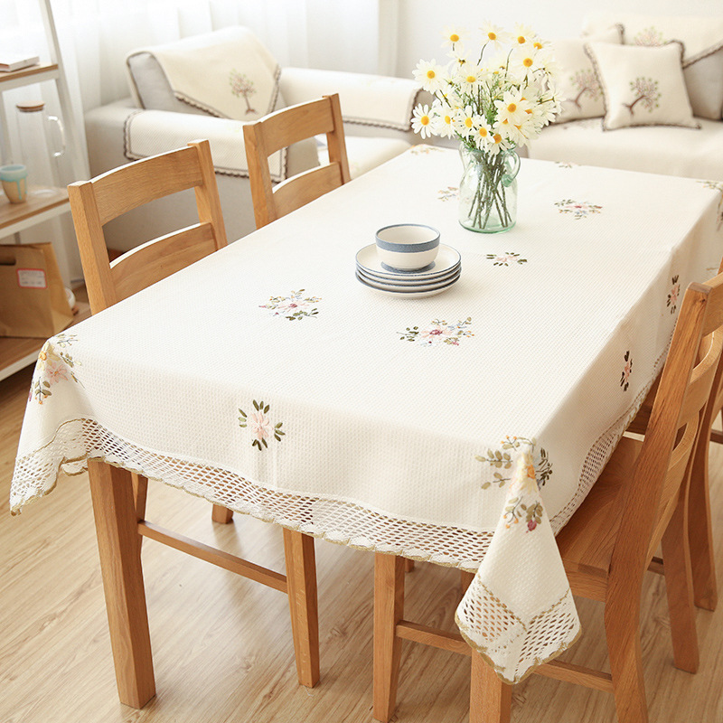 Europe Flowers Tablecloth White Hollow Lace Cotton Linen Dustproof Table cloth 1