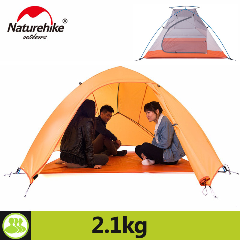 Naturehike Camping Tent For 3 Person Hiking Holiday 4 Season 20D Silicone Fabric Double Layer Rainproof Outdoor Camp Beach Tent naturehike 1 person camping tent with mat 3 season 20d silicone 210t polyester fabric double layer outdoor rainproof camp tent
