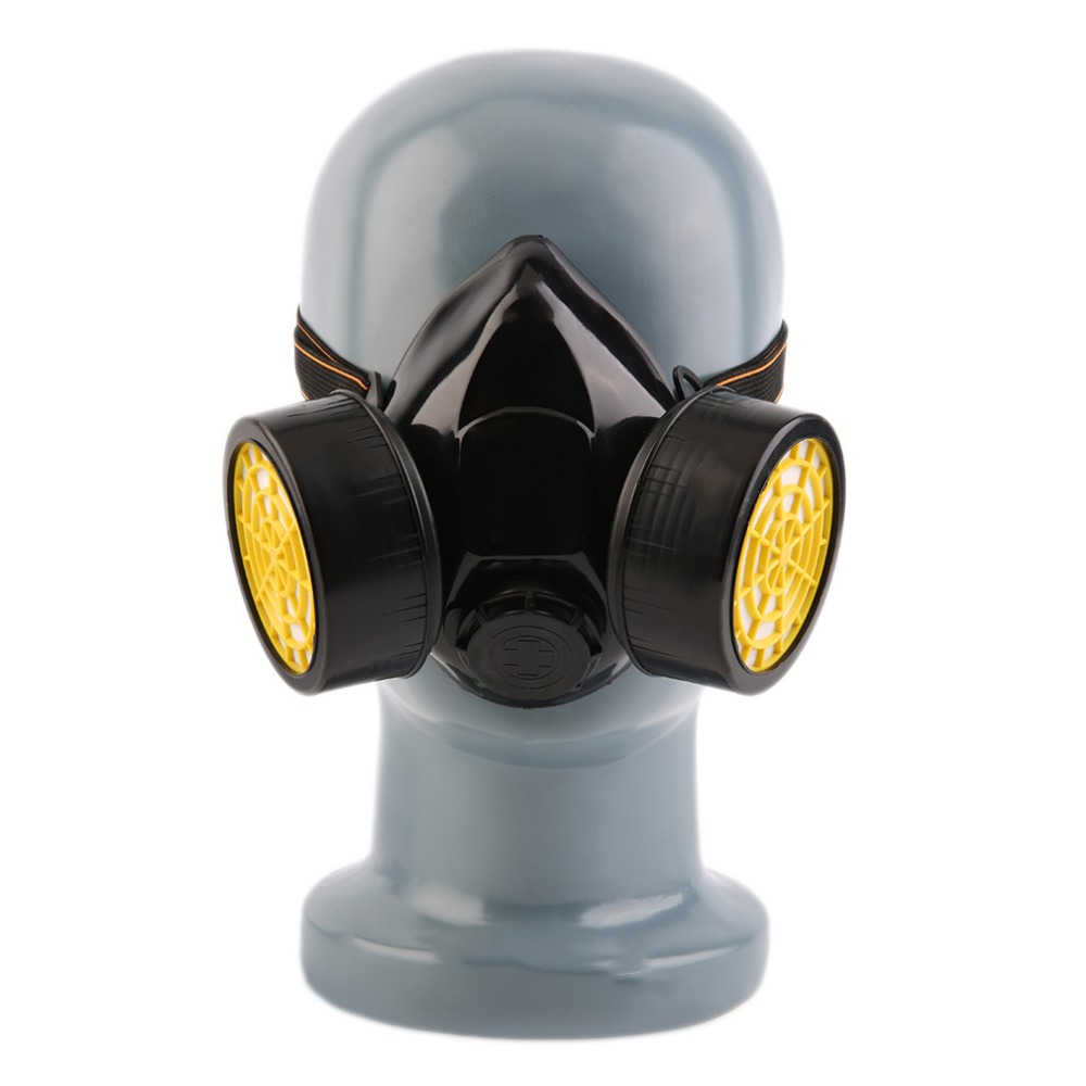 Independent Black Gas Mask Emergency Survival Safety Respiratory Gas Mask Anti Dust Paint Respirator Mask With 2 Dual Protection Filter Health Care
