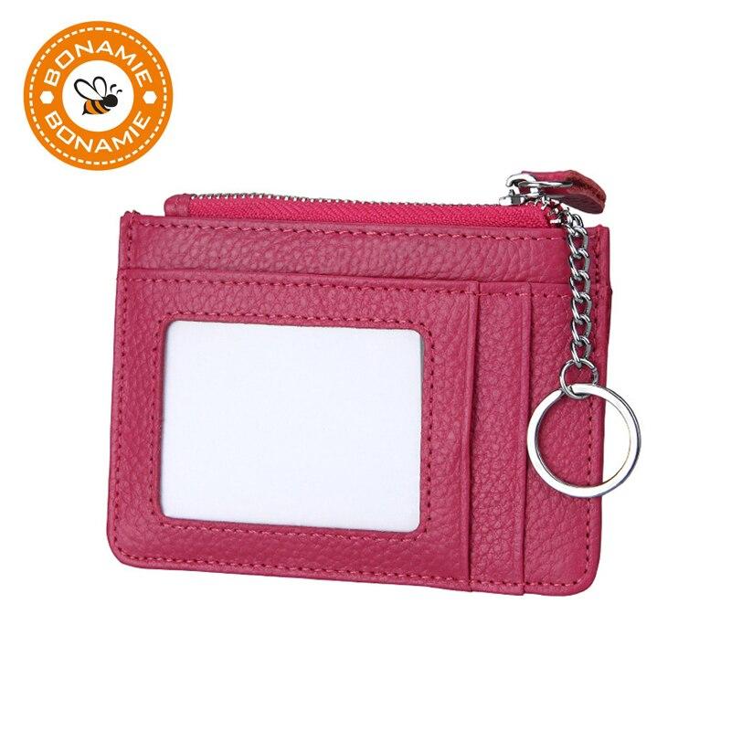 BONAMIE 여성 정품 가죽 신용 카드 홀더 지퍼 포켓 미니 카드 지갑 RFID 키 홀더 작은 카드 지갑 블랙 레드