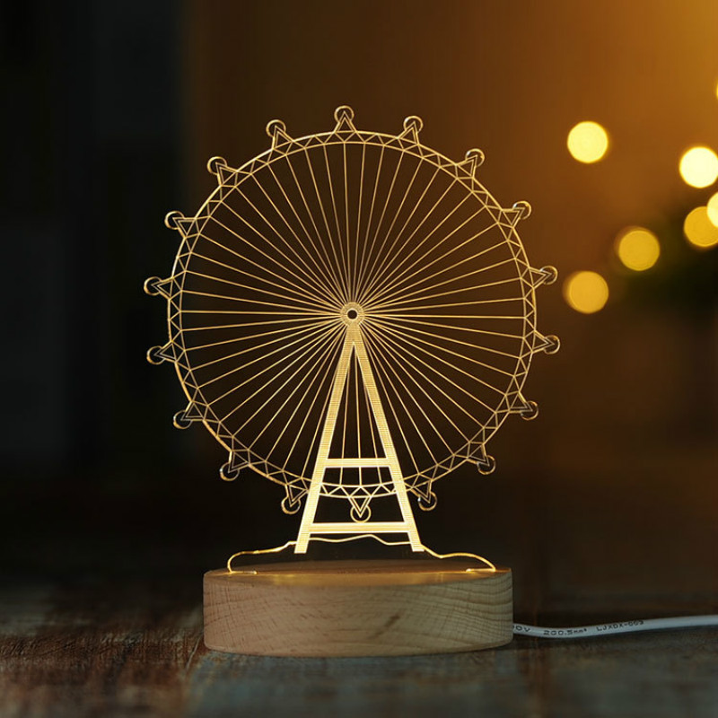 3D Ferris wheel Nightlight Eiffel Tower Table lamp Merry-go-round Bedroom Decoration wit ...