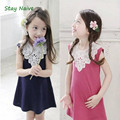 New 2016 Summer Children Girl Sleeveless Lace Dress Kids Clothes Cotton Child Party Princess Tank Girl Dress Sundress Age 3-8T