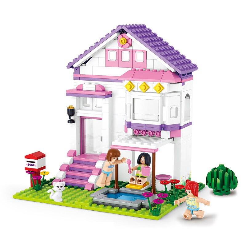 SLUBAN 0532 Girl Friends Pool Villa Figure Blocks Educational Construction Building Bricks Toys For Children Compatible Legoe