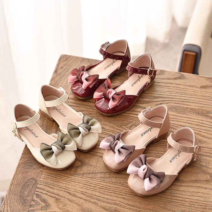2019 new sale Children girls PU shoes Girls princess bowknot Shoes Flat casual dance Shoes 21-36 black beige pink TX07