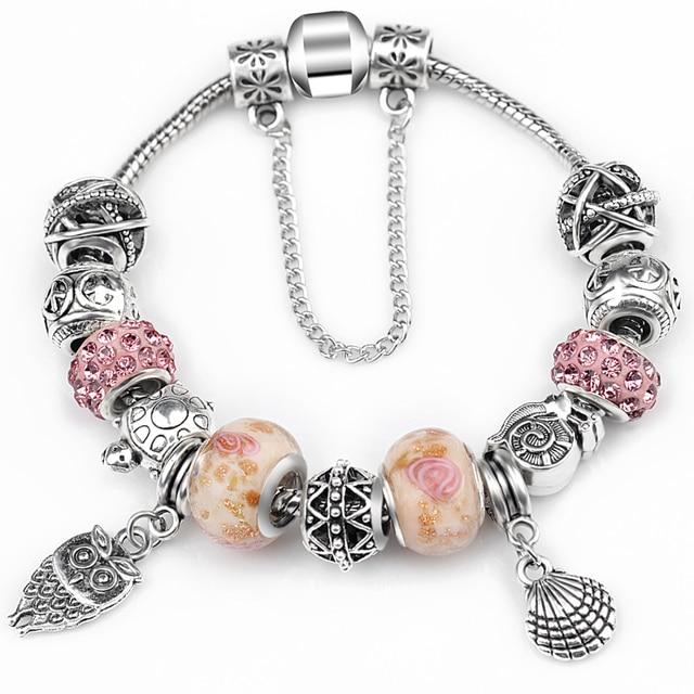 2017 Newest Authentic Silver Antique Fine Bracelets & Bangles for Women Bead Fit Original Charm Bracelets Free Shipping