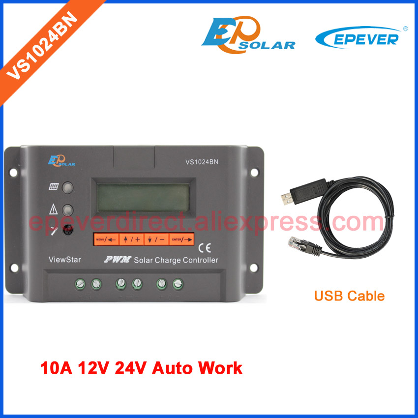 EP Solar charging controller PWM series 10A 10amps EPEVER VS1024BN 12V 24V work with USB cable communication cable vs1024bn new pwm controller network access computer control can connect with mt50 for communication