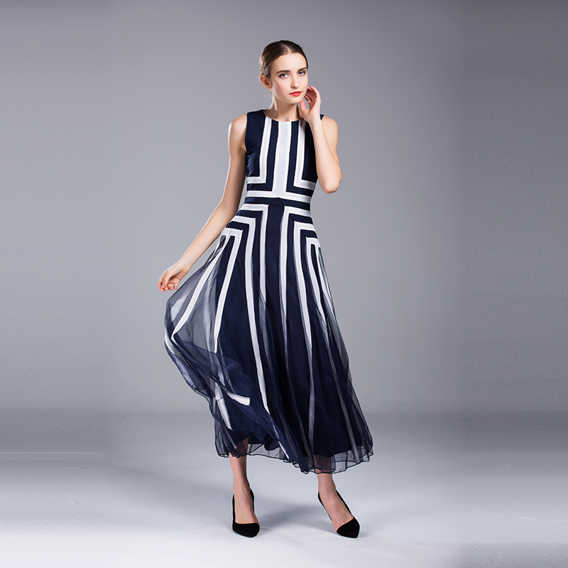 Women Blue White Stripe Summer Maxi Dress Casual Sarafan Ukraine Sleeveless Long Robe Ladies Clothing Sexy Size 4XL 2017 Tunic